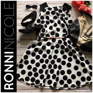 NWOT Sz16 Ronni Nicole Polka Dot Fit & Flare Dress